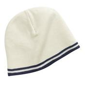 Fine Knit Skull Cap with Stripes