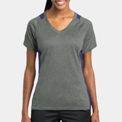 Ladies Heather Colorblock Poly T-Shirt Thumbnail